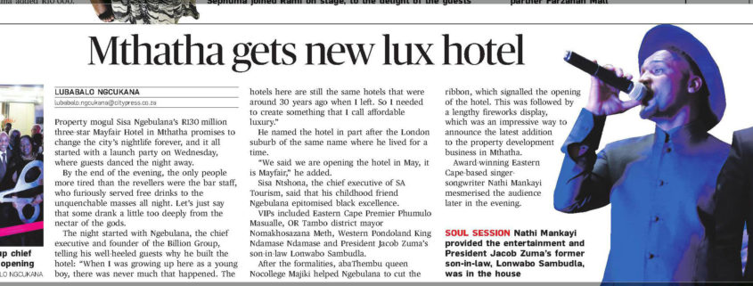 """Mthatha gets new lux hotel"" - City Press article"