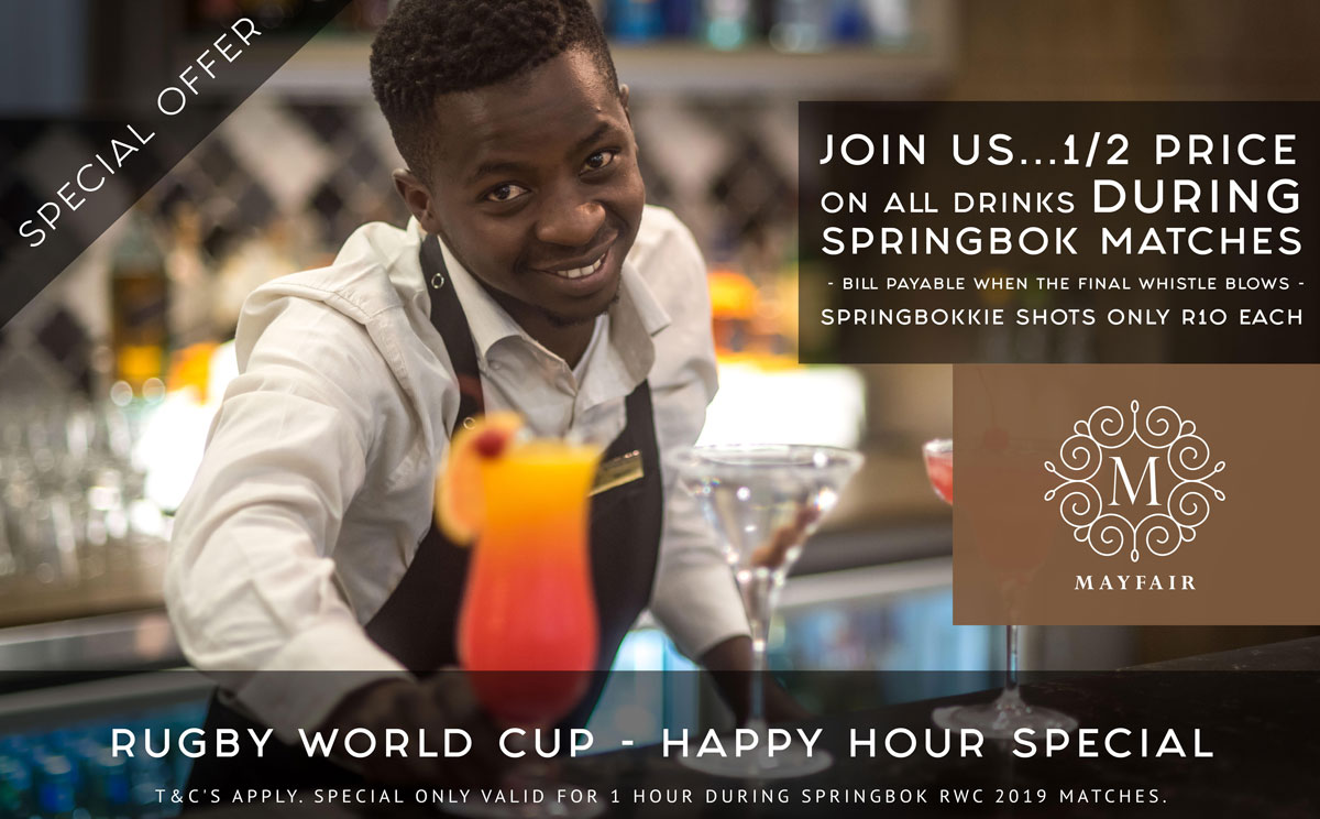 Rugby World Cup Happy Hour Special | Mayfair Hotel